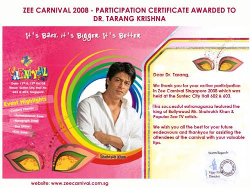Appreciation letter at Zee Carnival, Singapore